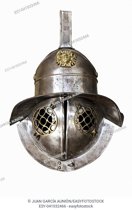 Murmillo helmet. Ancient roman gladiator reconstruction. Isolated over white background