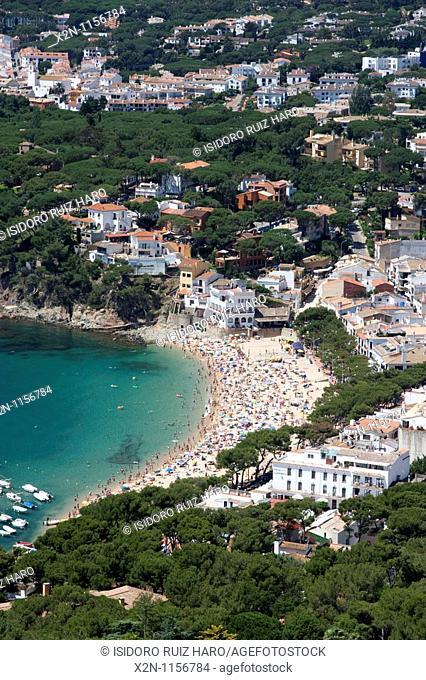 Aerial view of Llafranc Palafrugell from Sant Sebastia lighthouse Costa Brava Baix Empordà Catalunya Spain