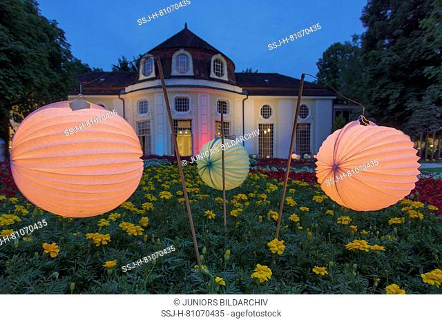 The rotunda in the Royal Spa Garden Bad Reichenhall during the spa garden lighting. Upper Bavaria, Germany