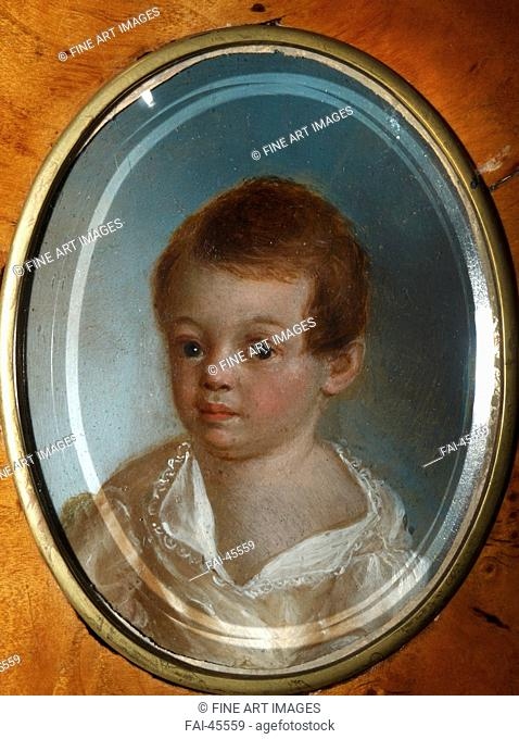 Portrait of the poet Alexander Sergeyevich Pushkin (1799-1837) as child by Maistre, Xavier de (1763-1852)/Oil on metal/Neoclassicism/1802/France/State Museum of...