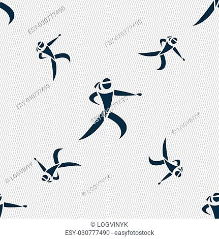 Karate kick icon sign. Seamless pattern with geometric texture. Vector illustration