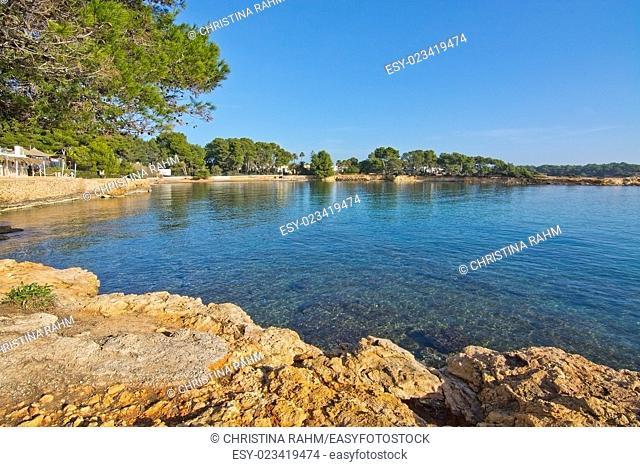 Ibiza natural rock and ocean landscape in Ibiza, Balearic islands, Spain