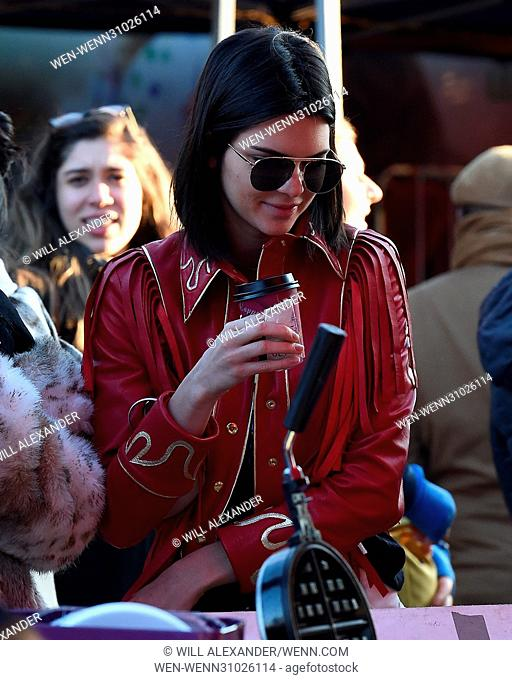 Kendall Jenner enjoys an afternoon shopping in the famous Portobello Road Market in Notting Hill. The star blended in to the huge crowds