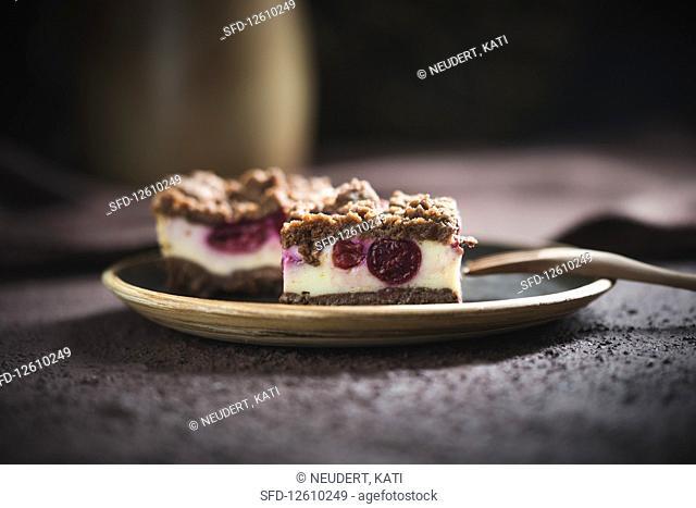 Vegan crumble quark cake with sour cherries