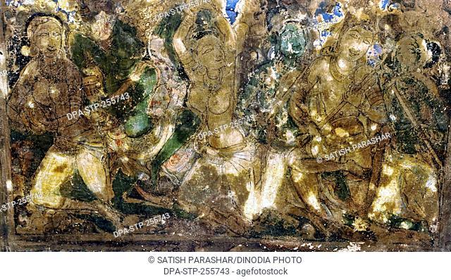 painting on ceiling, ellora caves, aurangabad, maharashtra, India, Asia
