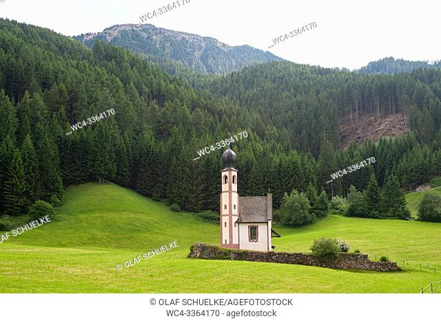 St. Magdalena, Villnoess, Trentino-Alto, South Tyrol, Italy, Europe - St. Johann in Ranui church at the Nature Park in the Villnoess Valley