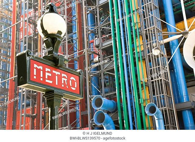 View to the facade of Centre Georges Pompidou with Metro-light in front, France, Paris