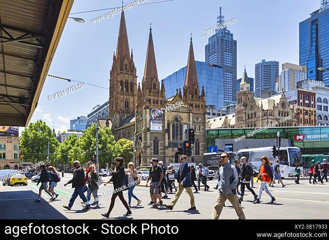 St. Paulâ. . s cathedral, Melbourne, Victoria, Australia. The Gothic Revival styled Anglican cathedral was designed by English architect William Butterfield and...