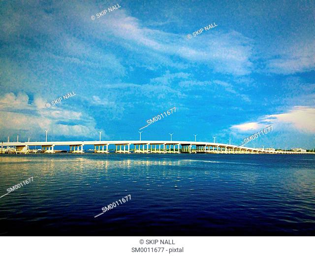 The Green Bridge over the Manatee River linking Bradenton, Florida and Palmetto, Florida