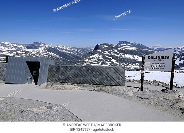 Kiosk, souvenirs, sales, summit vantage mountain Dalsnibba near Geiranger, vantage point for overlooking the Geiranger fjord, 1500 m, More og Romsdal, Norway