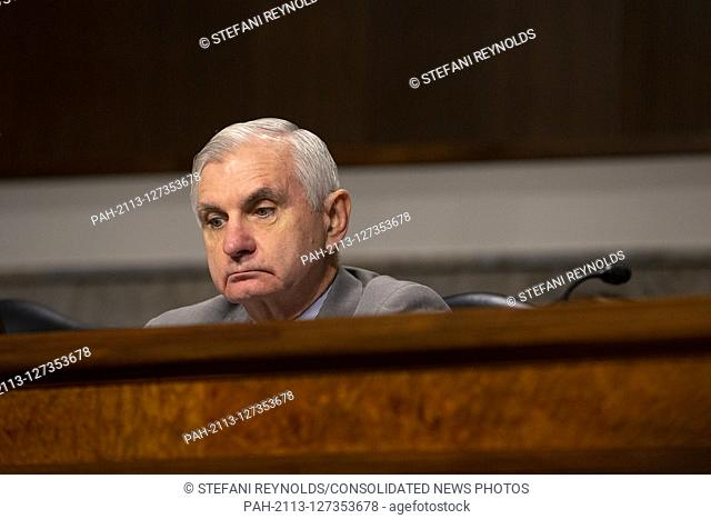 United States Senator Jack Reed (Democrat of Rhode Island) listens as Director of Defense Capabilities and Management at the Government Accountability Office...