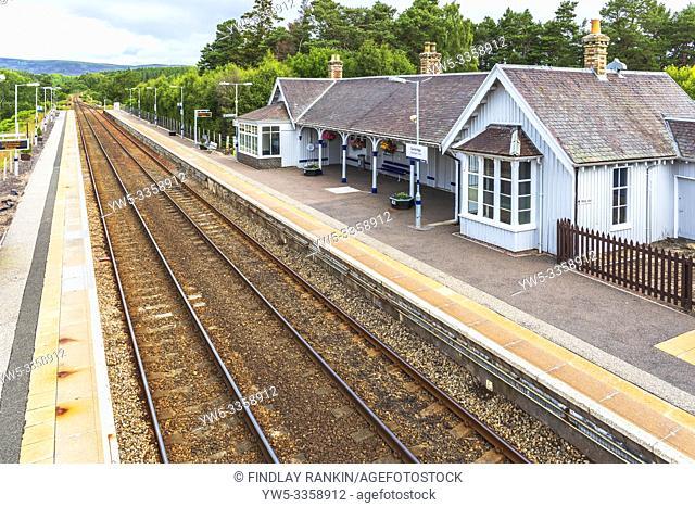 Railway station at Carrbridge, Scottish Highlands, Scotland, UK