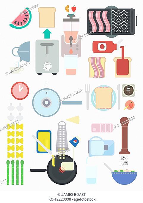 Arrangement of food ingredients and cooking equipment