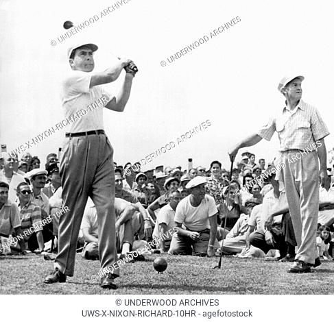 Rockville, Maryland: 1953. Vice-President Richard Nixon tees off at the National Celebrities Open Tournament at the Woodmont Country Club
