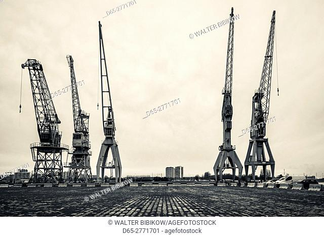 Belgium, Antwerp, old port cranes