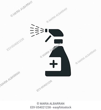 Sanitizer spray icon. Isolated image. Flat pharmacy and cleaning vector illustration