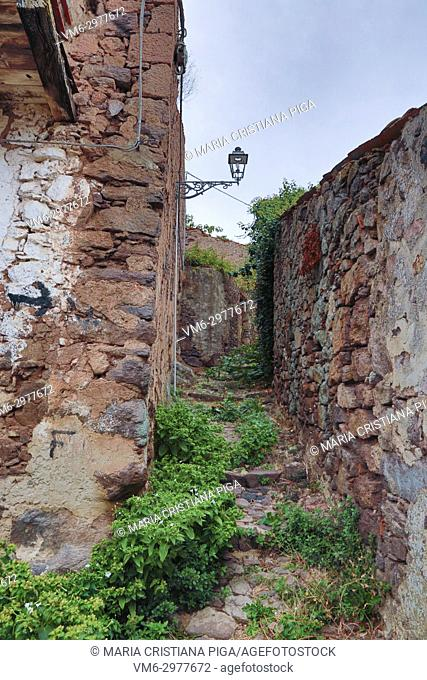 a cobbled street in the old village of Bortigali, Sardinia, italy