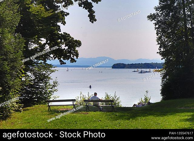 District Starnberg, Germany September 13th, 2020: Impressions Starnberger See - 2020 Almost like in midsummer, the extension of summer is enjoyed like today in...