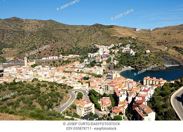 Elevated view of the village of Portbou, Costa Brava,Girona province,Catalonia,Spain