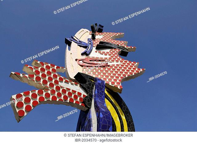 El Cap de Barcelona, Barcelona head, pop-art sculpture by Roy Lichtenstein, Barcelona, Catalonia, Spain, Europe, PublicGround