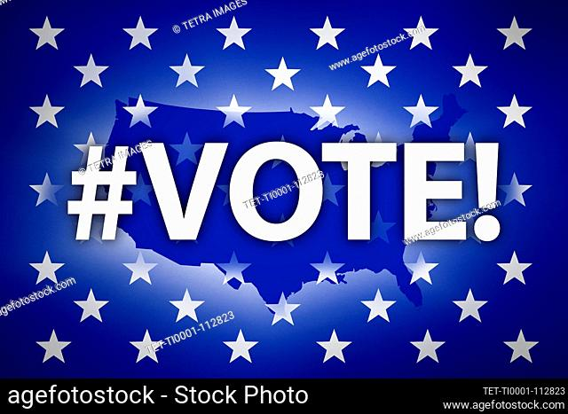 Vote sign and stars against USA shape