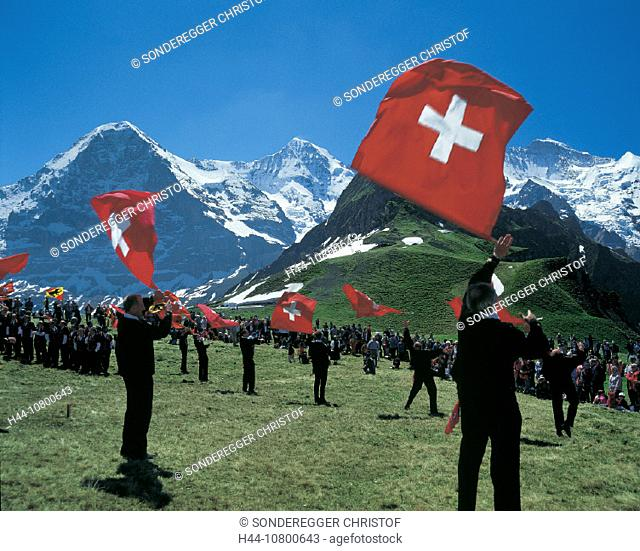 arrangement, Berne, Canton Bern, Eiger, flag thrower, flags, folklore, Jungfrau, Mannlichen, meeting, Monch, mountai