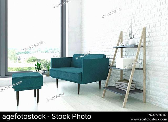 Contemporary Interior Art Room with a Turquoise Armchair, Wooden Ladder Shelf and Green Plants near the White Brick Wall, Elegant Decor