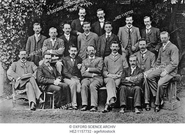 JJ Thomson, British nuclear physicist, 1898. Joseph John Thomson (1856-1940), the discoverer of the electron, with his students at the Cavendish Laboratory