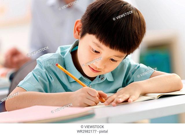 School boy studying in classroom