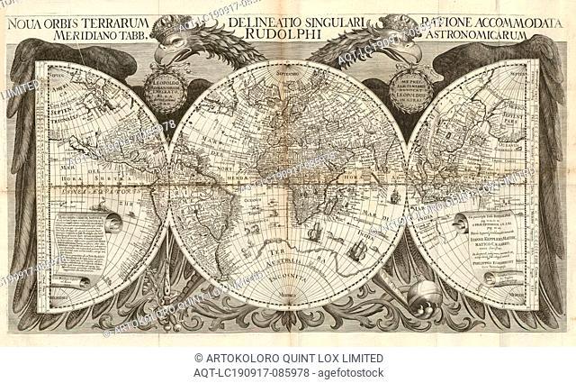 Nova orbis terrarum delineatio singulari ratione accomodata meridiano tabb. rudolphi Astronimicarum, World map with graticule, Signed: Sumptus faciente Jo