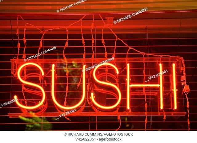 Sushi Restaurant sign, Spokane, Washington State, USA