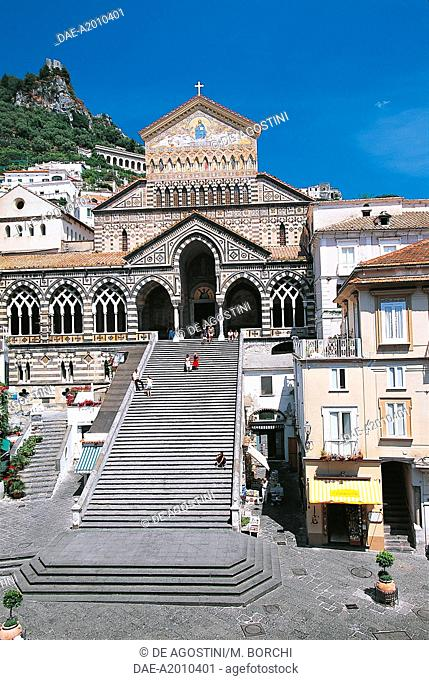 The facade of Sant'Andrea Cathedral, as seen from above, Amalfi, Amalfi coast (UNESCO World Heritage Site, 1997), Campania, Italy, 19th century