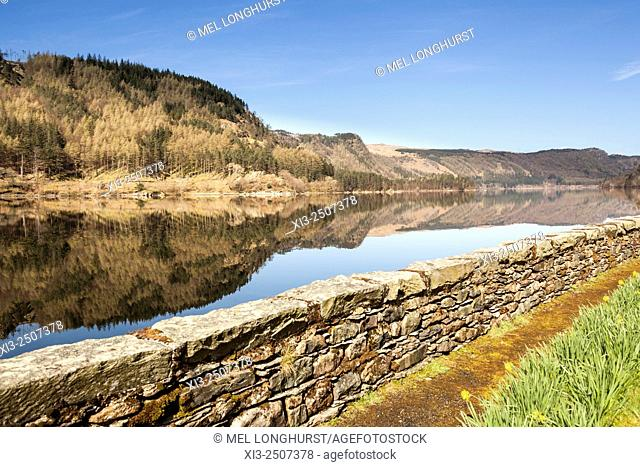 Lakeland hills reflecting on the still water of Thirlmere Reservoir, Lake District National Park, Cumbria, England