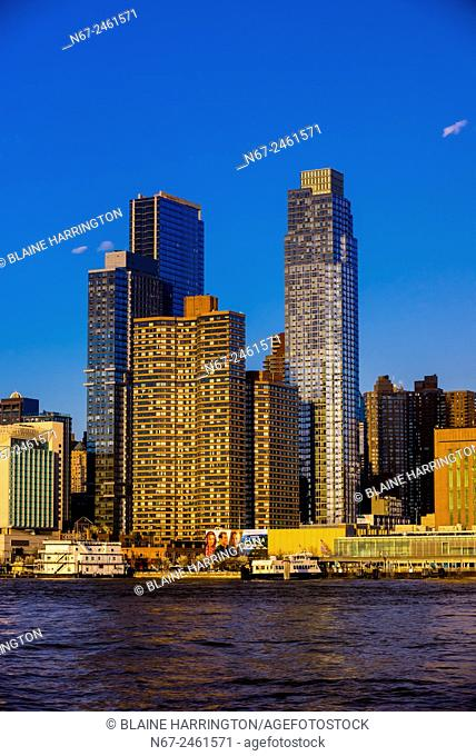 West side of Manhattan from the Hudson River, New York, New York USA