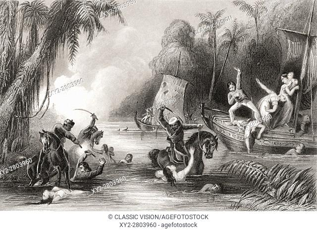 Massacre in the boats off Cawnpore, 1857. From The History of the Indian Mutiny published 1858