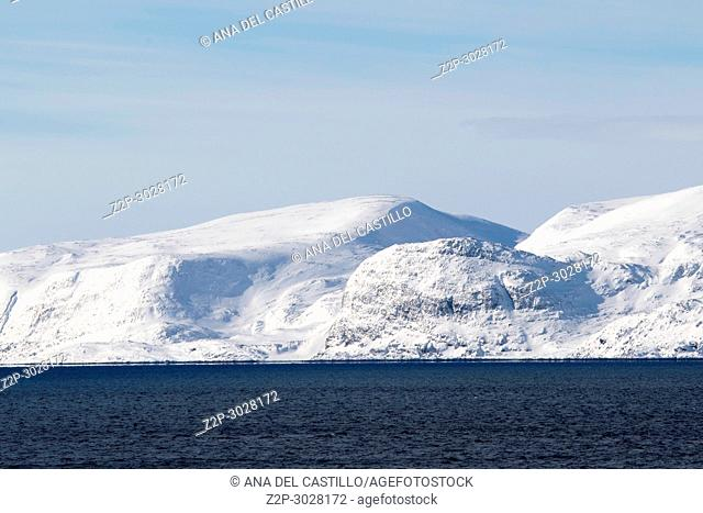 Scenery from a ship Norwegian sea near North Cape Norway