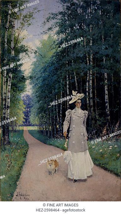 Walk. Portrait of Countess Leokadia Shirinskaya-Shikhmatova, 1894. Found in the collection of the Regional Art Gallery, Tver