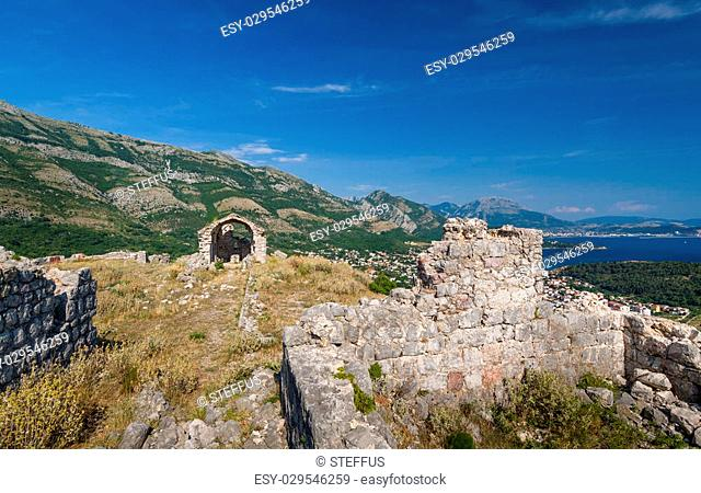 Ancient turkish fortress Haj-Nehaj now ruined. Sutomore village, Montenegro