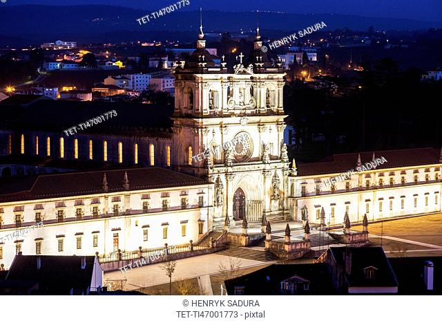 Portugal, Centro Region, Alcobaca, Alcobaca Monastery at night