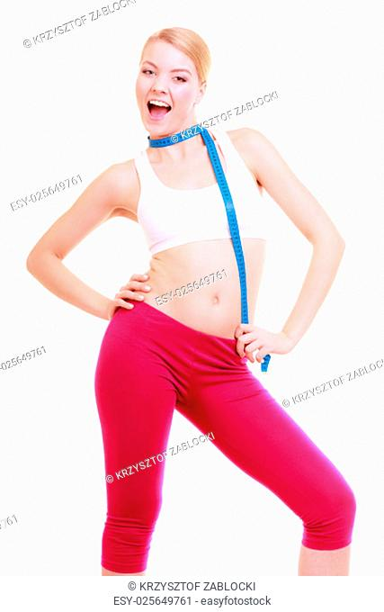 time for slimming diet weight loss. health care and healthy nutrition. young fitness woman fit girl with measure tape isolated on white