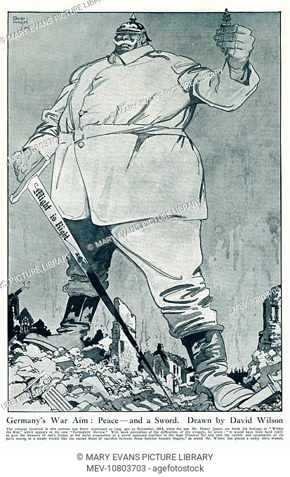 Germany depicted as a gigantic, militaristic ogre, standing amidst the rubble of a devastated village brandishing a sword engraved with the words