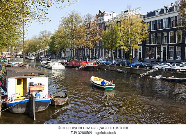 Boats and houseboats, Amsterdam, Netherlands, Europe