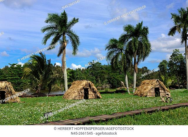 Reproduction of Aldea Taino Indian Village, Lake of Lago de Tesoro, Zapata Swamp National Park, Grand Natural Park Montemar, Matanzas Province, Cuba