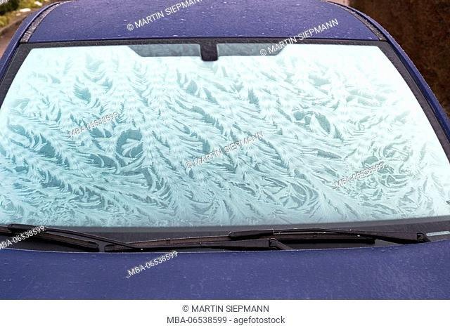 Frost flowers on windscreen, car window, Germany