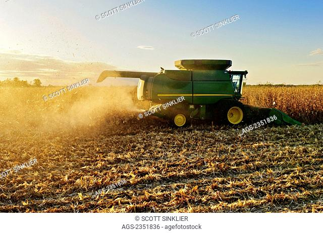 Agriculture - A John Deere combine (model 9670 STS) harvests mature grain corn in late afternoon Autumn light / Southern Iowa, USA