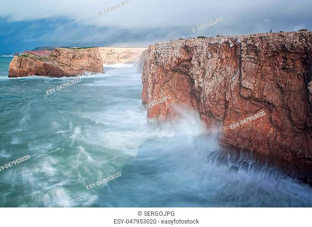 Storm and the waves on the shore Sagres, Sao Vicente. Portugal