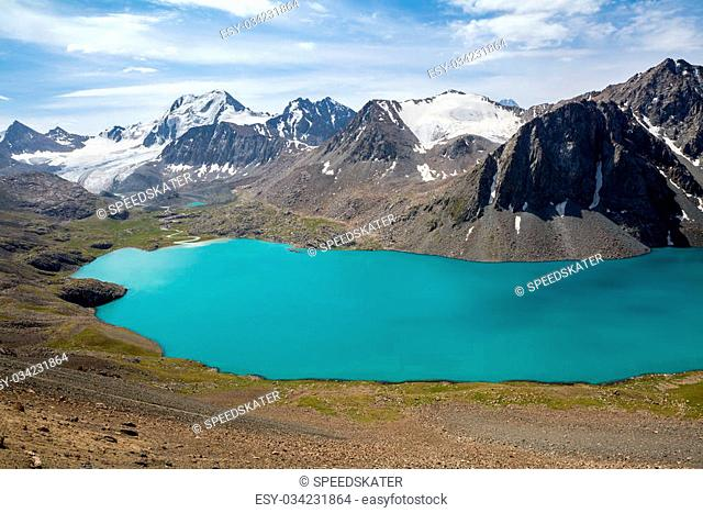 Mountain turquoise lake in Kyrgyzstan