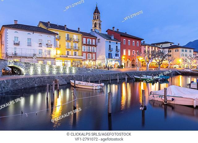 Blu hour at Ascona port, Lago Maggiore, Canton Ticino, Switzerland