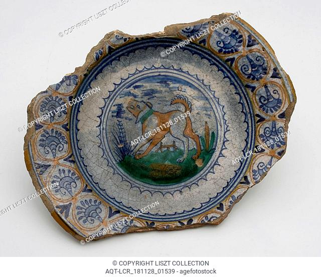 Majolica dish on stand, polychrome decor, dog in landscape, special rim with palmettes, plate dish crockery holder soil find ceramics pottery glaze tin glaze...