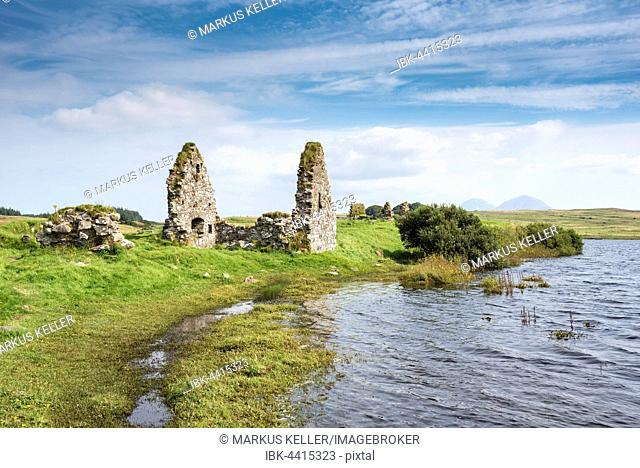Finlaggan Castle on the island of Eilean Mòr, formerly the headquarters of the Lord of the Isles, Isle of Islay, Inner Hebrides, Scotland, United Kingdom